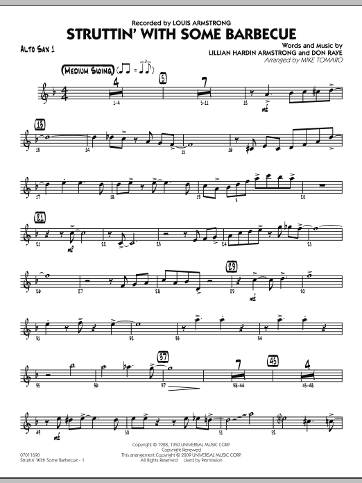 Mike Tomaro Struttin' with Some Barbecue - Alto Sax 1 sheet music preview music notes and score for Jazz Ensemble including 4 page(s)