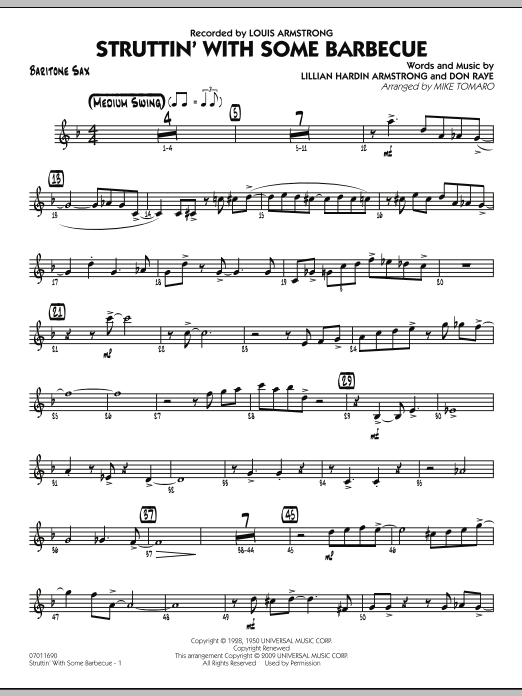 Mike Tomaro Struttin' with Some Barbecue - Baritone Sax sheet music preview music notes and score for Jazz Ensemble including 4 page(s)