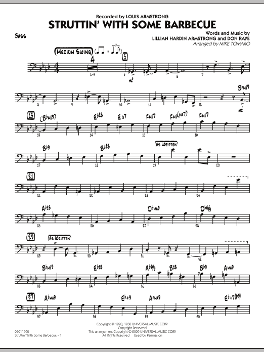 Mike Tomaro Struttin' with Some Barbecue - Bass sheet music preview music notes and score for Jazz Ensemble including 4 page(s)
