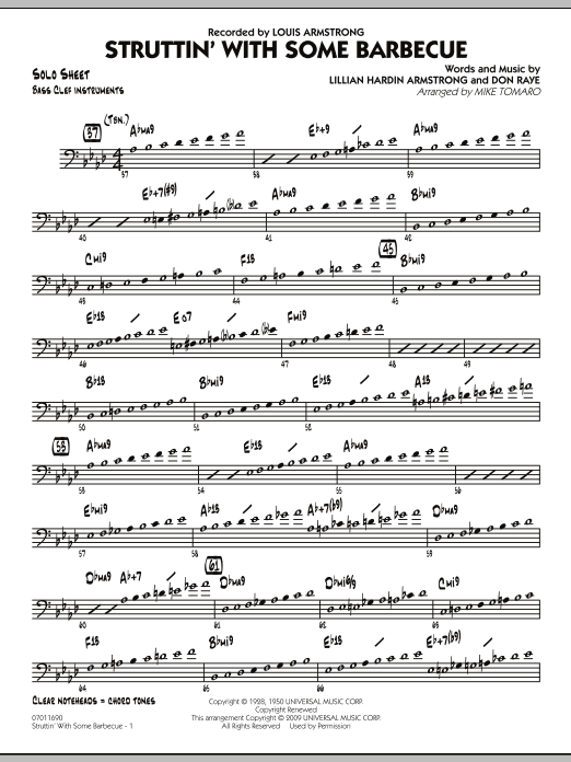 Mike Tomaro Struttin' with Some Barbecue - Bass Clef Solo Sheet sheet music preview music notes and score for Jazz Ensemble including 2 page(s)