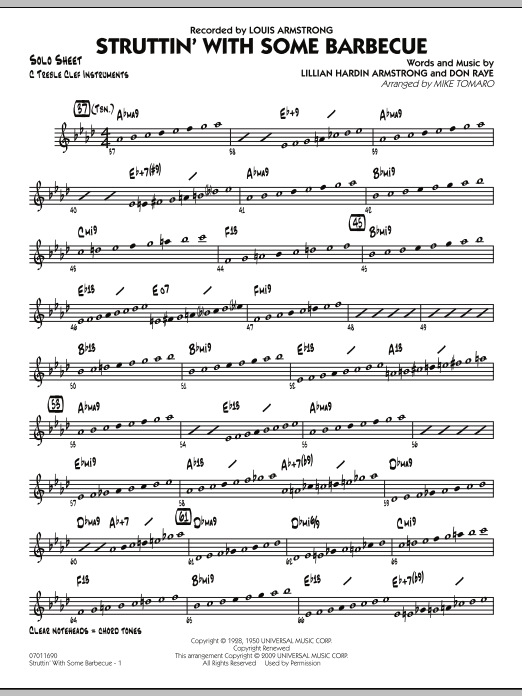 Mike Tomaro Struttin' with Some Barbecue - C Solo Sheet sheet music preview music notes and score for Jazz Ensemble including 2 page(s)