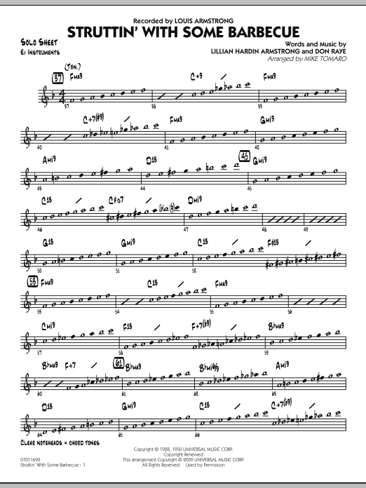 Mike Tomaro Struttin' with Some Barbecue - Eb Solo Sheet sheet music preview music notes and score for Jazz Ensemble including 2 page(s)