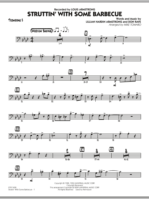 Mike Tomaro Struttin' with Some Barbecue - Trombone 3 sheet music preview music notes and score for Jazz Ensemble including 4 page(s)