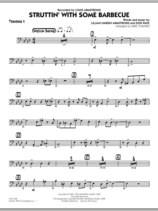 Mike Tomaro Struttin' with Some Barbecue - Trombone 4 sheet music preview music notes and score for Jazz Ensemble including 4 page(s)