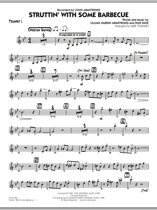 Mike Tomaro Struttin' with Some Barbecue - Trumpet 1 sheet music preview music notes and score for Jazz Ensemble including 3 page(s)