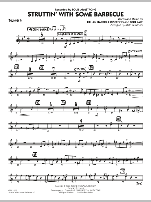 Mike Tomaro Struttin' with Some Barbecue - Trumpet 3 sheet music preview music notes and score for Jazz Ensemble including 3 page(s)