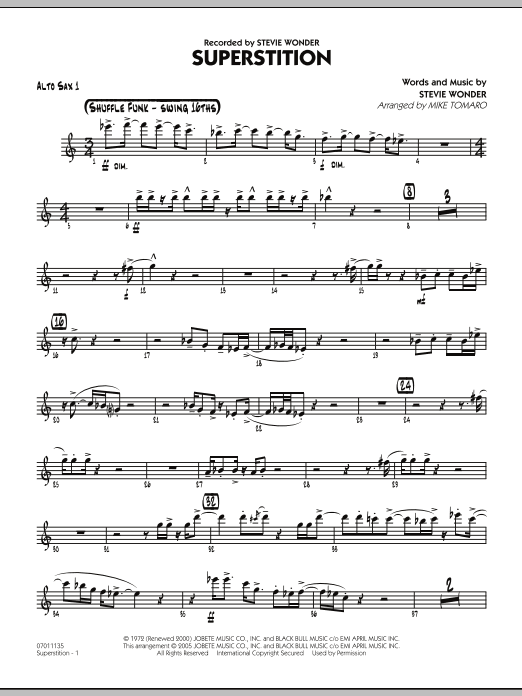 Mike Tomaro Superstition - Alto Sax 1 sheet music preview music notes and score for Jazz Ensemble including 3 page(s)