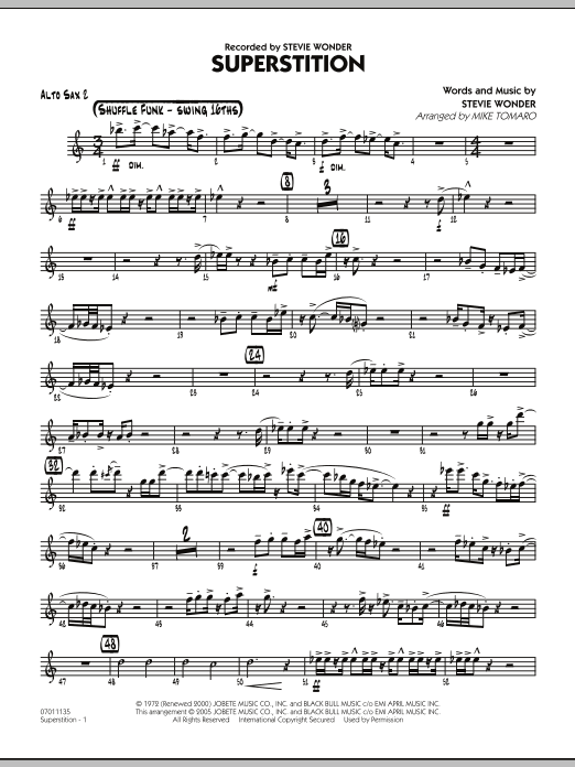 Mike Tomaro Superstition - Alto Sax 2 sheet music preview music notes and score for Jazz Ensemble including 2 page(s)