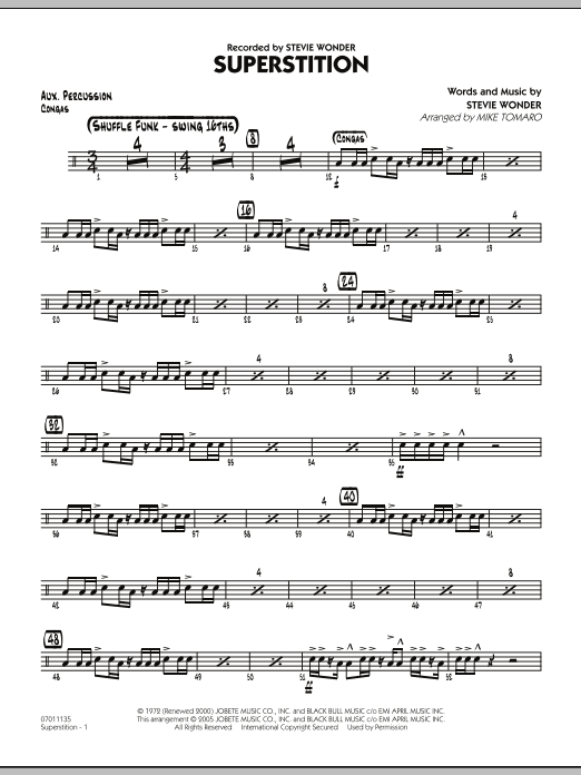 Mike Tomaro Superstition - Aux Percussion sheet music preview music notes and score for Jazz Ensemble including 2 page(s)