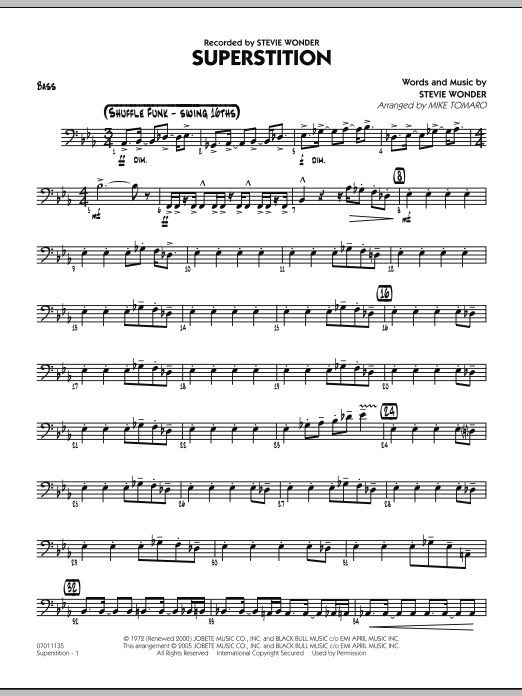 Mike Tomaro Superstition - Bass sheet music preview music notes and score for Jazz Ensemble including 3 page(s)