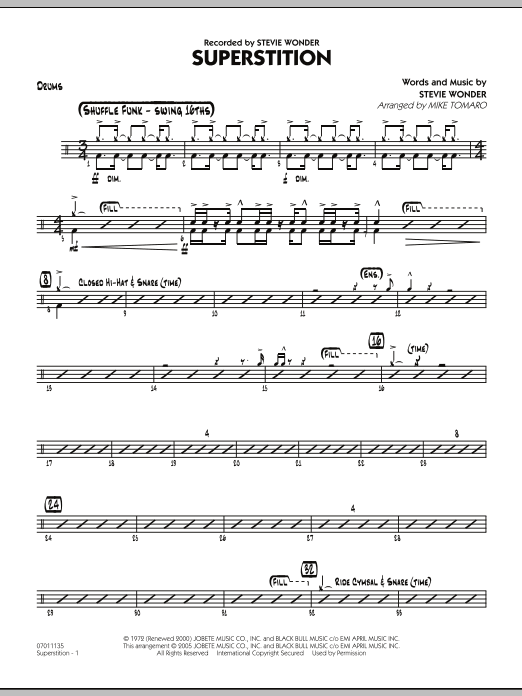 Mike Tomaro Superstition - Drums sheet music preview music notes and score for Jazz Ensemble including 3 page(s)