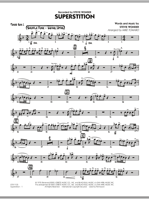 Mike Tomaro Superstition - Tenor Sax 1 sheet music preview music notes and score for Jazz Ensemble including 2 page(s)