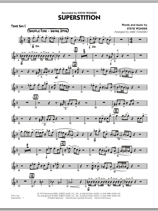 Mike Tomaro Superstition - Tenor Sax 2 sheet music preview music notes and score for Jazz Ensemble including 2 page(s)