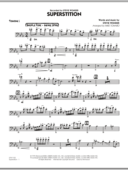 Mike Tomaro Superstition - Trombone 1 sheet music preview music notes and score for Jazz Ensemble including 3 page(s)