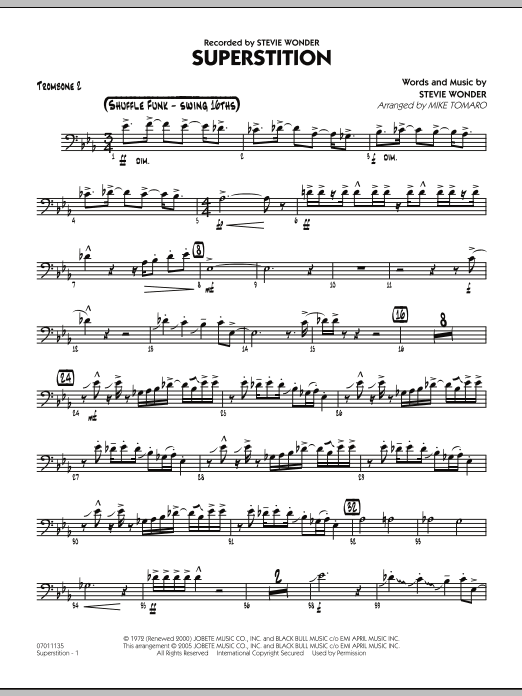 Mike Tomaro Superstition - Trombone 2 sheet music preview music notes and score for Jazz Ensemble including 3 page(s)