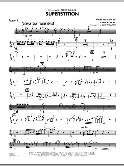 Mike Tomaro Superstition - Trumpet 1 sheet music preview music notes and score for Jazz Ensemble including 2 page(s)