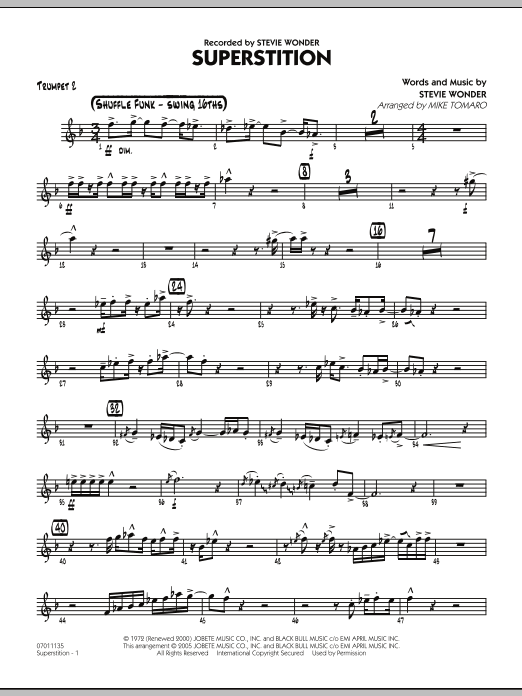 Mike Tomaro Superstition - Trumpet 2 sheet music preview music notes and score for Jazz Ensemble including 3 page(s)