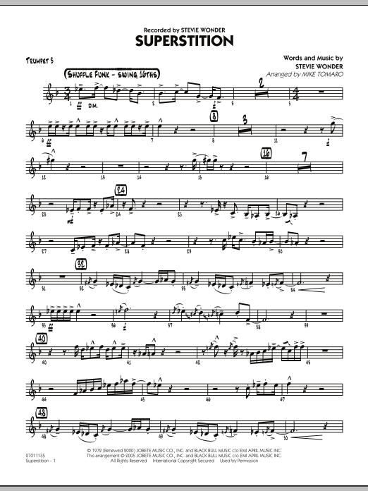 Mike Tomaro Superstition - Trumpet 3 sheet music preview music notes and score for Jazz Ensemble including 2 page(s)