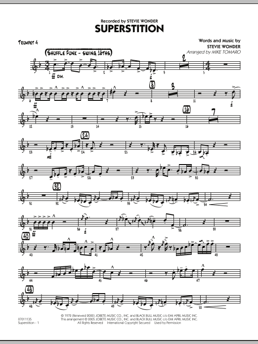 Mike Tomaro Superstition - Trumpet 4 sheet music preview music notes and score for Jazz Ensemble including 2 page(s)