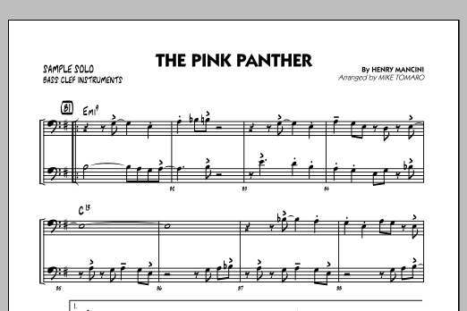Mike Tomaro The Pink Panther - Bass Clef Sample Solo sheet music preview music notes and score for Jazz Ensemble including 1 page(s)
