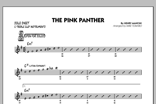 Mike Tomaro The Pink Panther - C Solo Sheet sheet music preview music notes and score for Jazz Ensemble including 1 page(s)