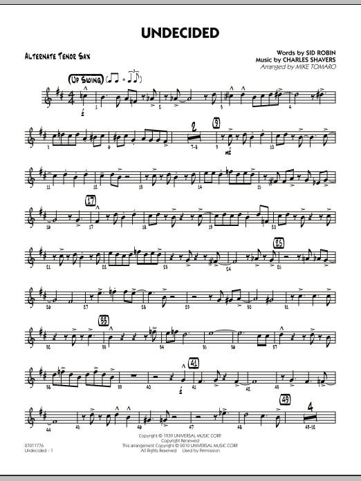 Mike Tomaro Undecided - Alternate Tenor Sax sheet music preview music notes and score for Jazz Ensemble including 3 page(s)