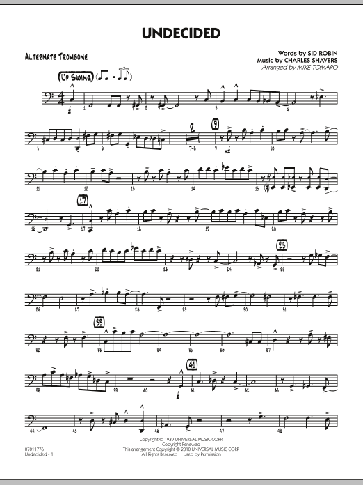 Mike Tomaro Undecided - Alternate Trombone sheet music preview music notes and score for Jazz Ensemble including 3 page(s)