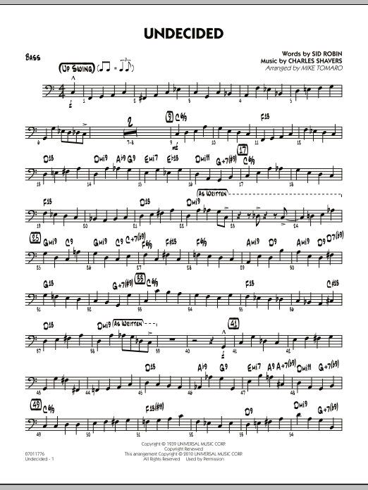 Mike Tomaro Undecided - Bass sheet music preview music notes and score for Jazz Ensemble including 3 page(s)