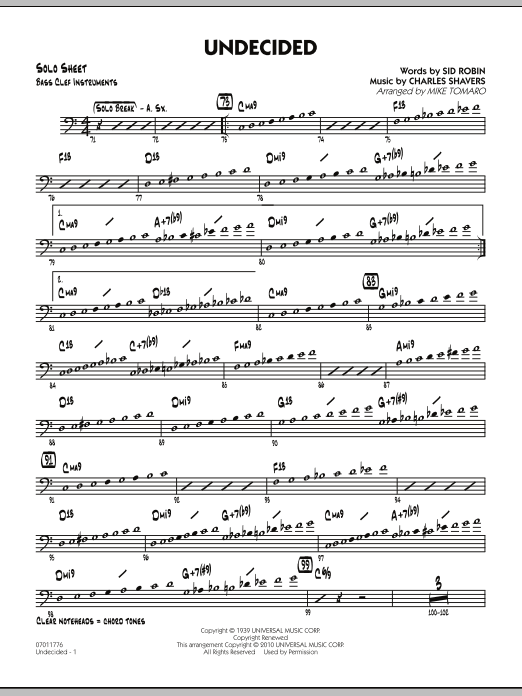 Mike Tomaro Undecided - Bass Clef Solo Sheet sheet music preview music notes and score for Jazz Ensemble including 2 page(s)