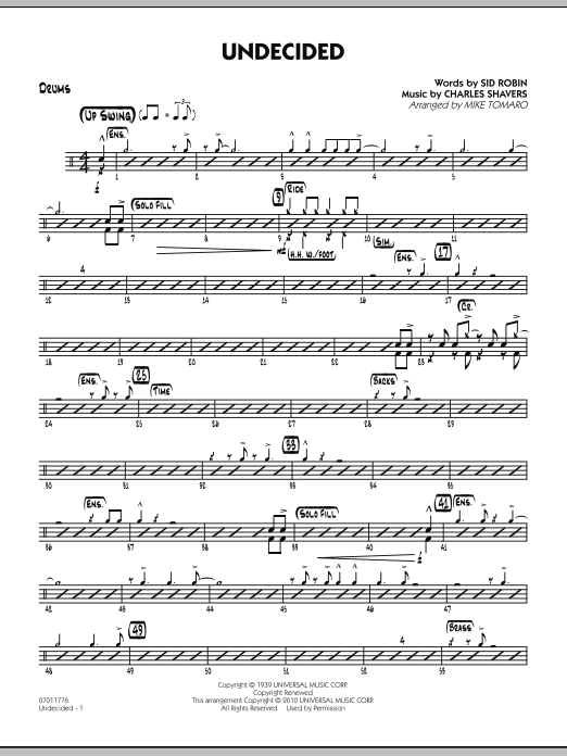 Mike Tomaro Undecided - Drums sheet music preview music notes and score for Jazz Ensemble including 3 page(s)