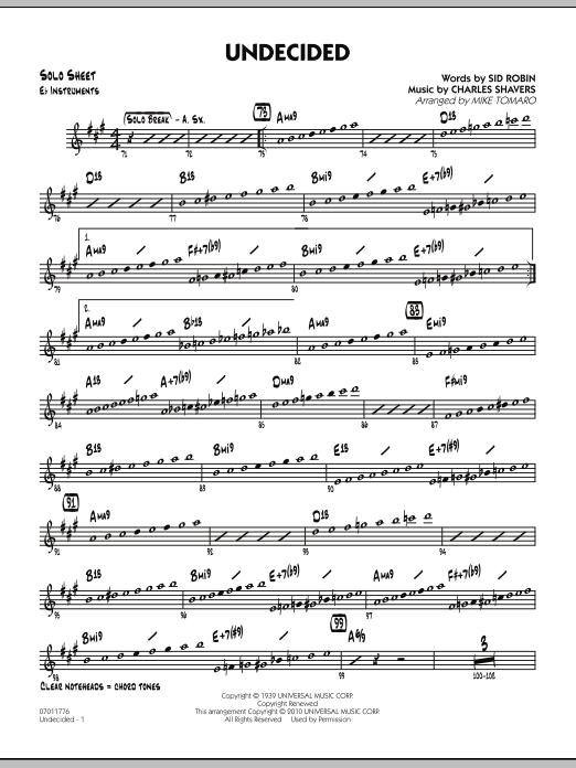 Mike Tomaro Undecided - Eb Solo Sheet sheet music preview music notes and score for Jazz Ensemble including 2 page(s)