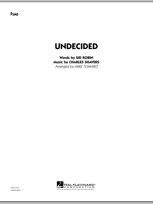 Mike Tomaro Undecided - Piano sheet music preview music notes and score for Jazz Ensemble including 7 page(s)