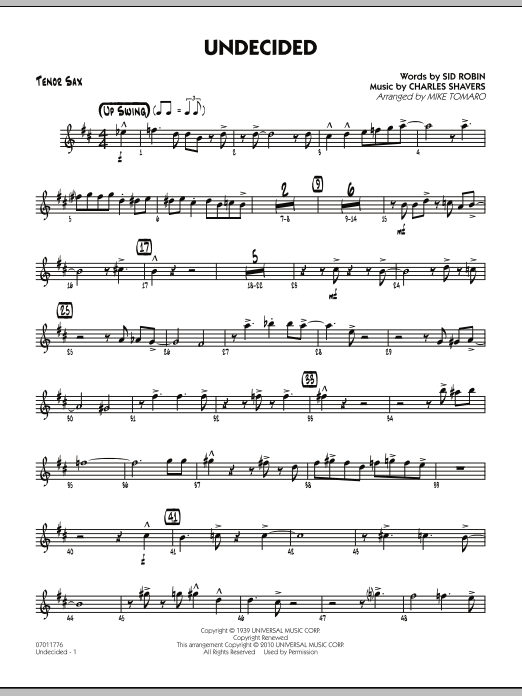 Mike Tomaro Undecided - Tenor Sax sheet music preview music notes and score for Jazz Ensemble including 3 page(s)