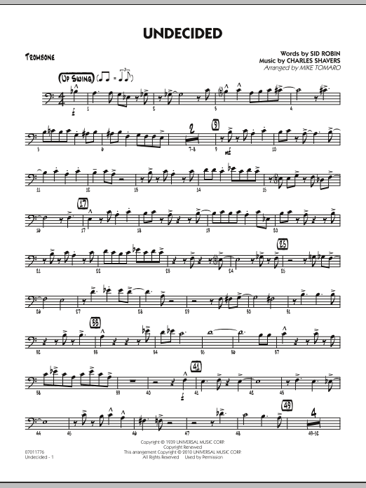 Mike Tomaro Undecided - Trombone sheet music preview music notes and score for Jazz Ensemble including 3 page(s)