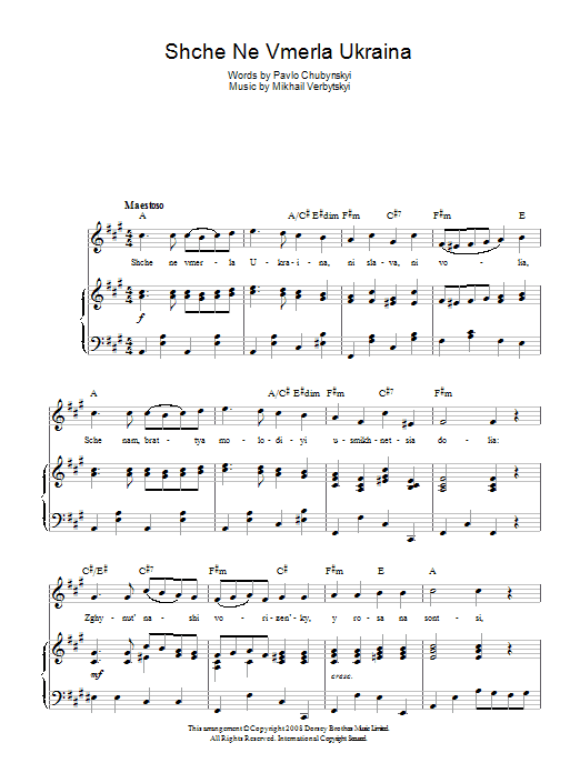 Mikhail Verbytskyi Shche Ne Vmerla Ukraina (Ukrainian National Anthem) sheet music preview music notes and score for Piano, Vocal & Guitar (Right-Hand Melody) including 2 page(s)