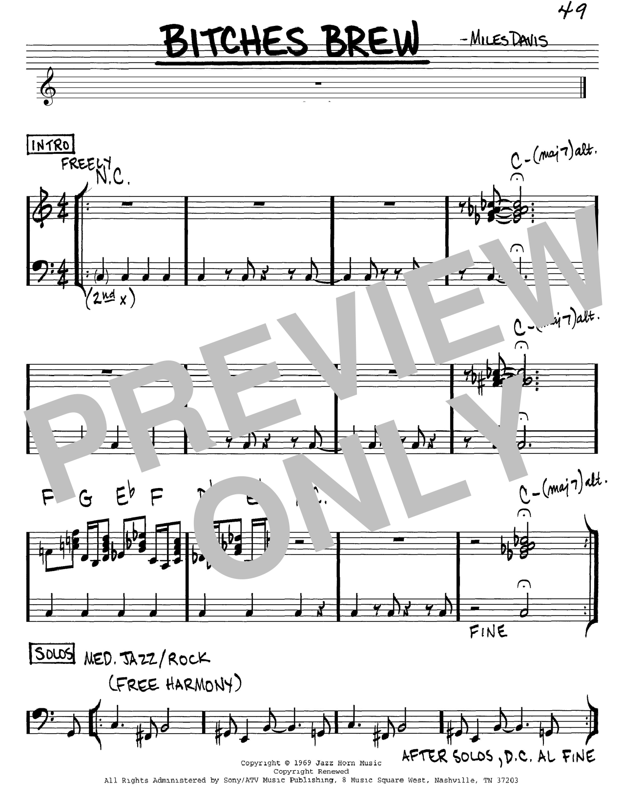 Download Miles Davis 'Bitches Brew' Digital Sheet Music Notes & Chords and start playing in minutes