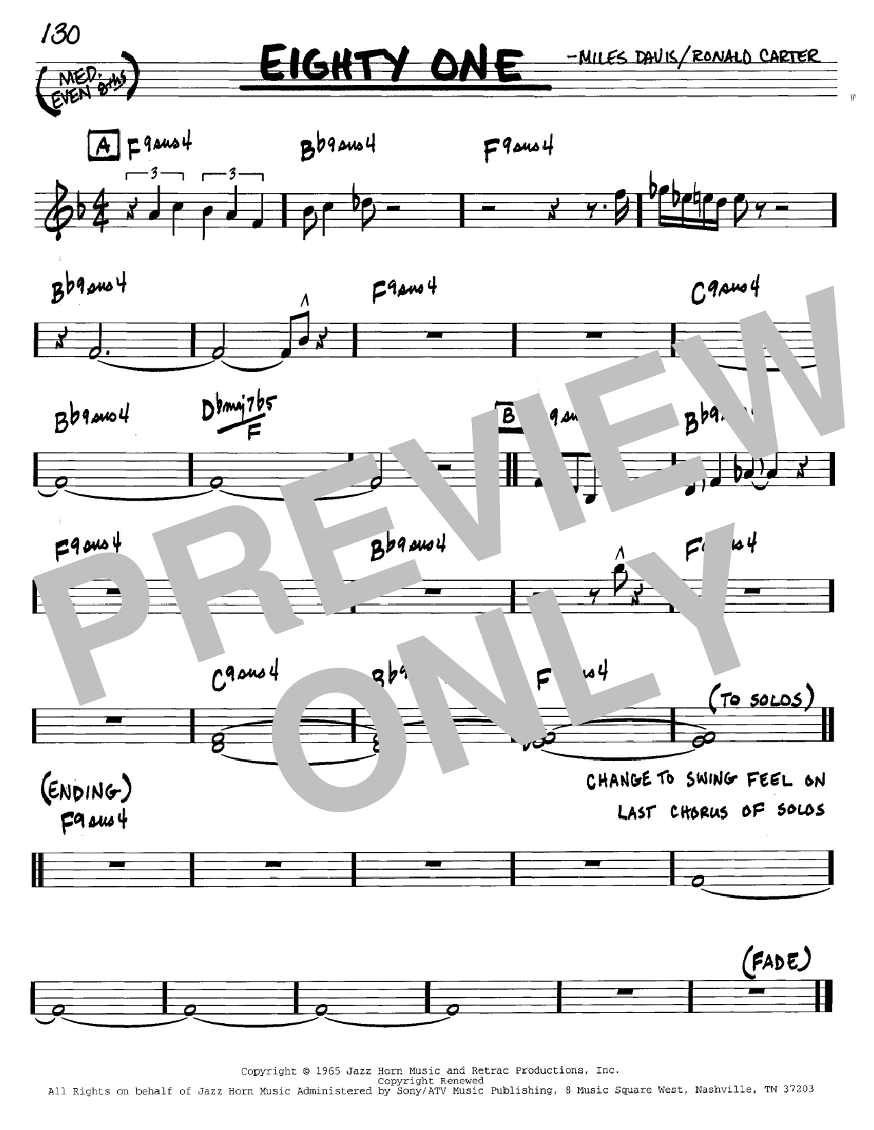 Miles Davis Eighty One sheet music preview music notes and score for Piano including 5 page(s)