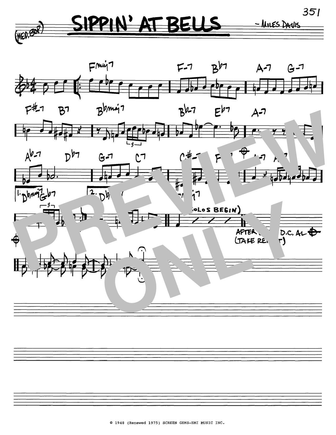 Download Miles Davis 'Sippin' At Bells' Digital Sheet Music Notes & Chords and start playing in minutes