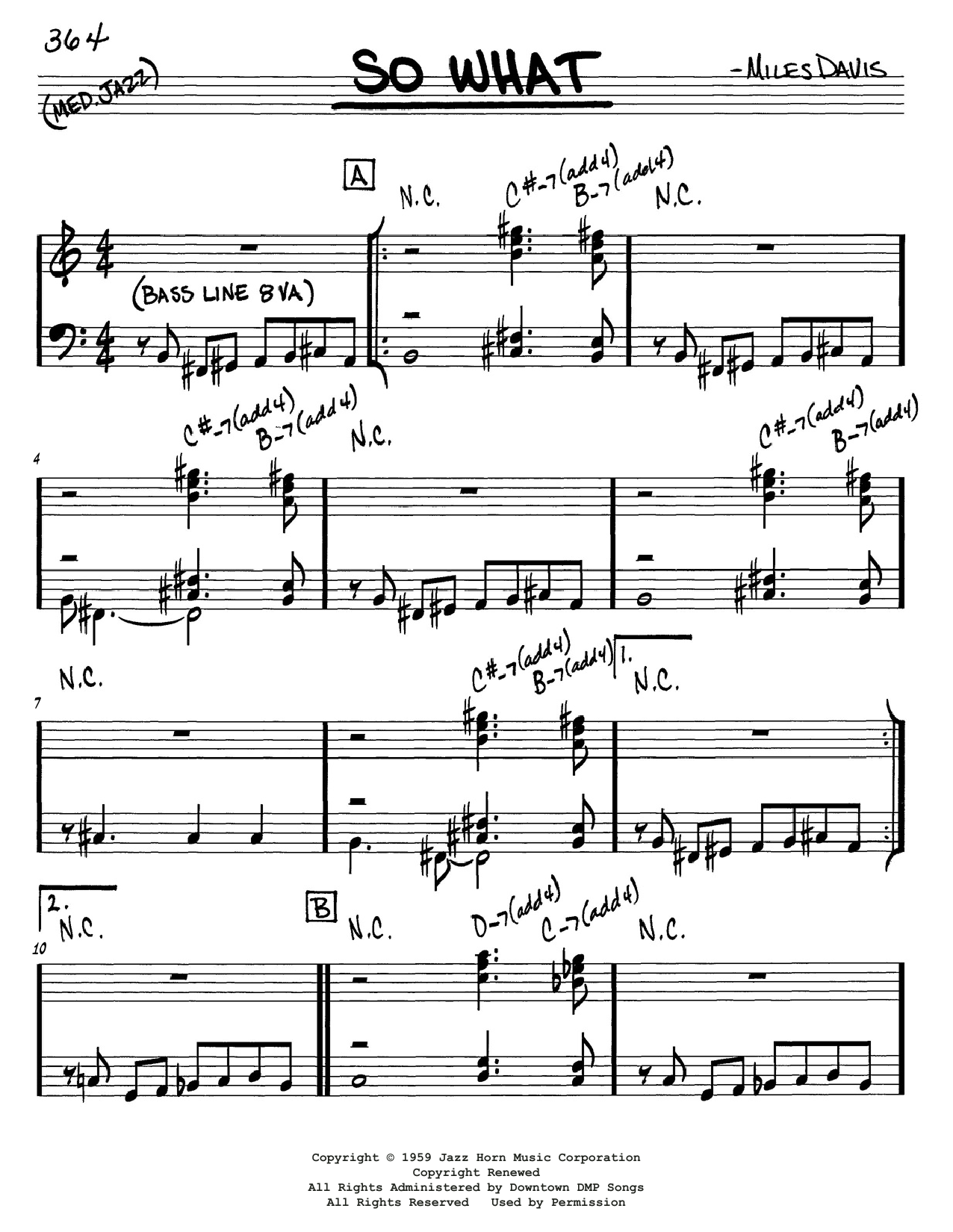 Download Miles Davis 'So What' Digital Sheet Music Notes & Chords and start playing in minutes