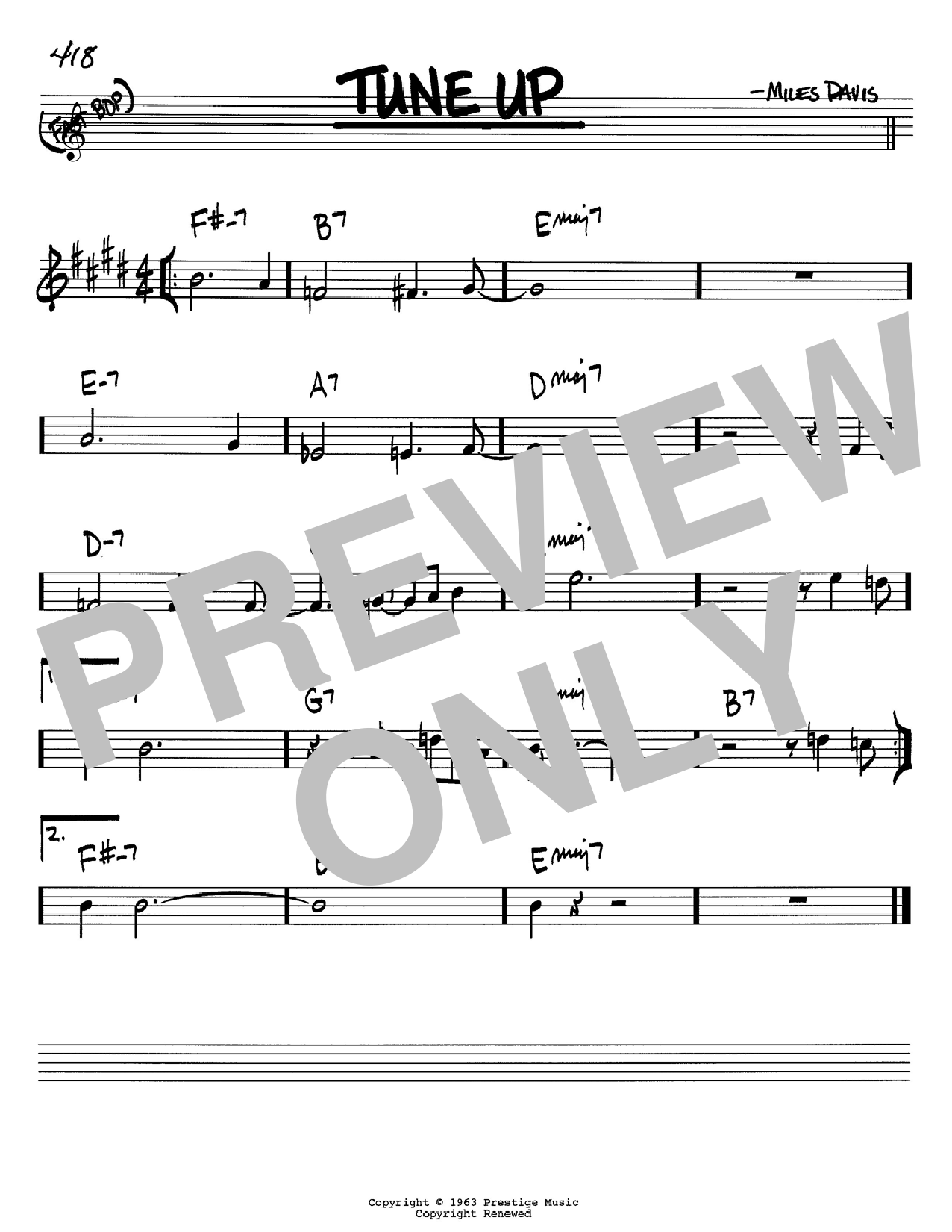 Download Miles Davis 'Tune Up' Digital Sheet Music Notes & Chords and start playing in minutes