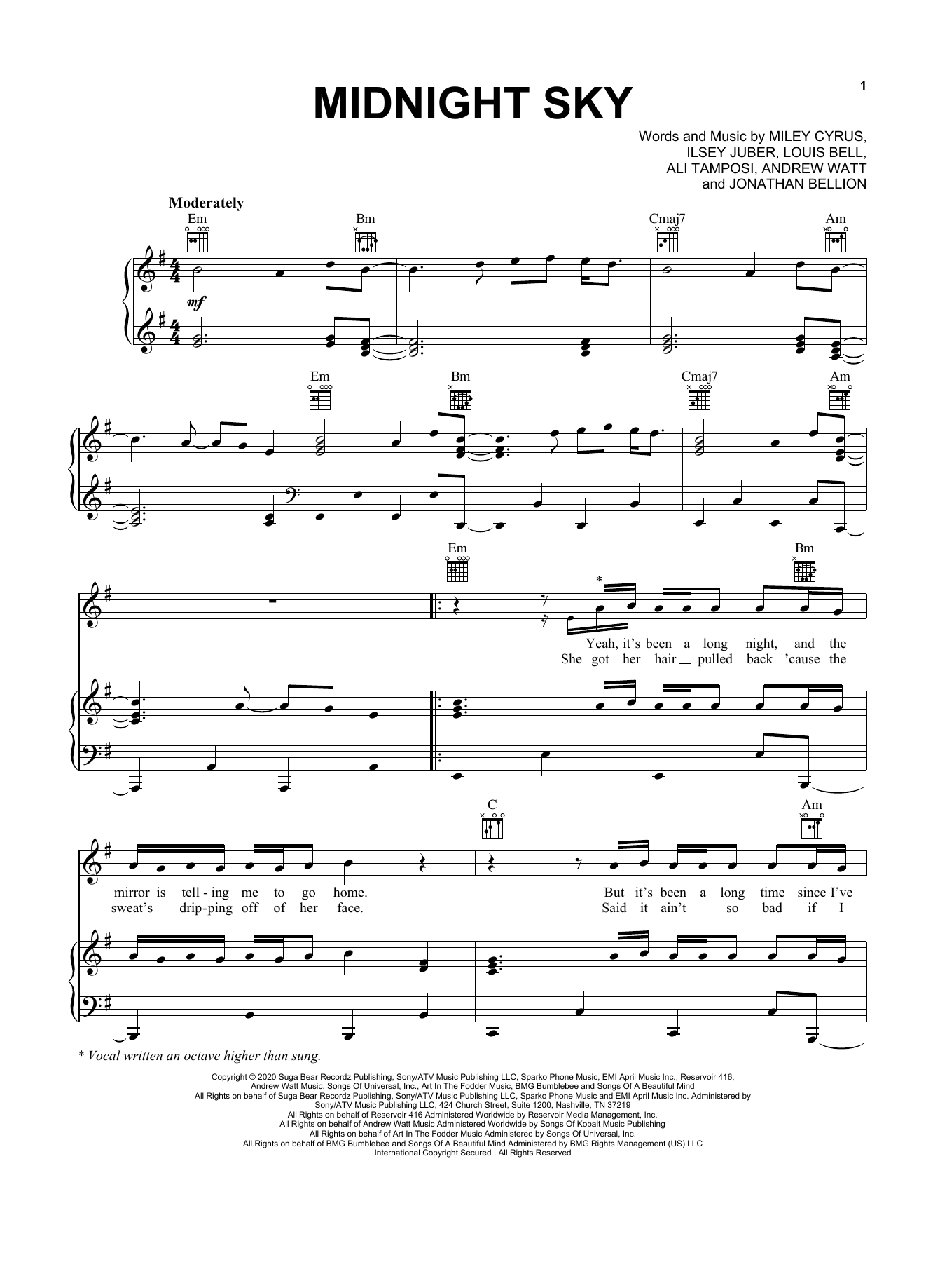 Miley Cyrus Midnight Sky sheet music preview music notes and score for Piano, Vocal & Guitar (Right-Hand Melody) including 5 page(s)