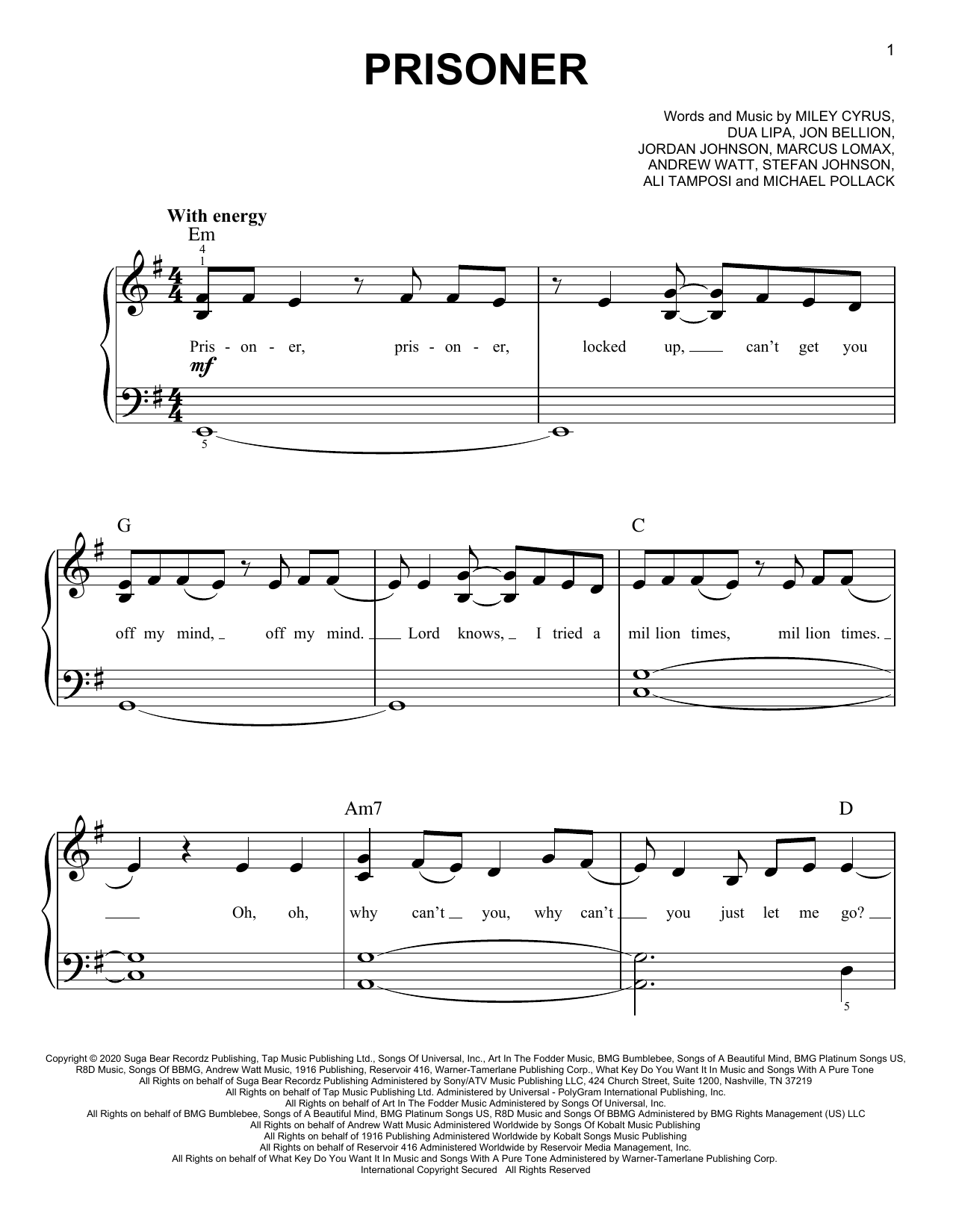 Miley Cyrus Prisoner (feat. Dua Lipa) sheet music preview music notes and score for Piano, Vocal & Guitar (Right-Hand Melody) including 6 page(s)