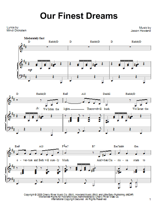 Mindi Dickstein Our Finest Dreams sheet music preview music notes and score for Piano, Vocal & Guitar (Right-Hand Melody) including 8 page(s)