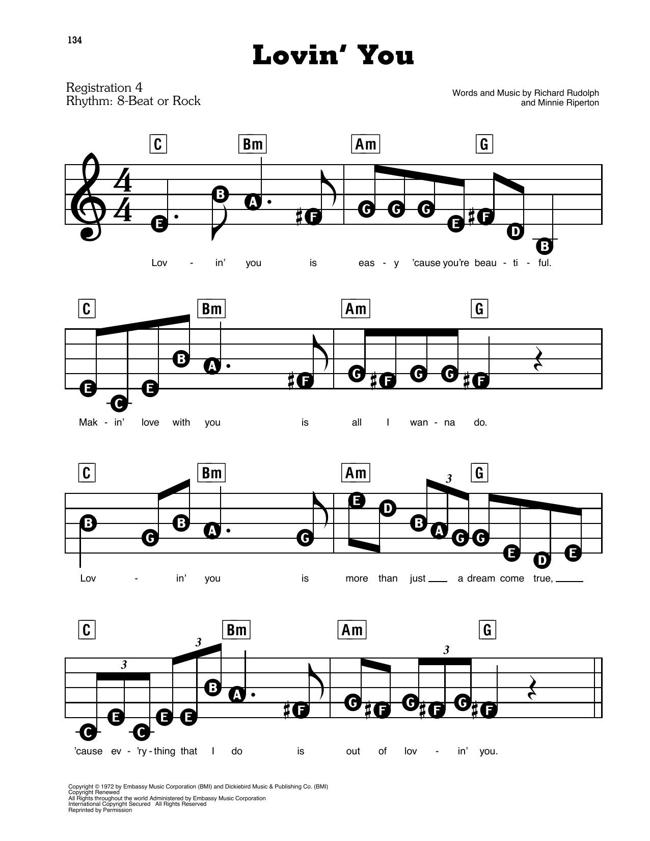 Minnie Riperton Lovin' You sheet music preview music notes and score for E-Z Play Today including 3 page(s)