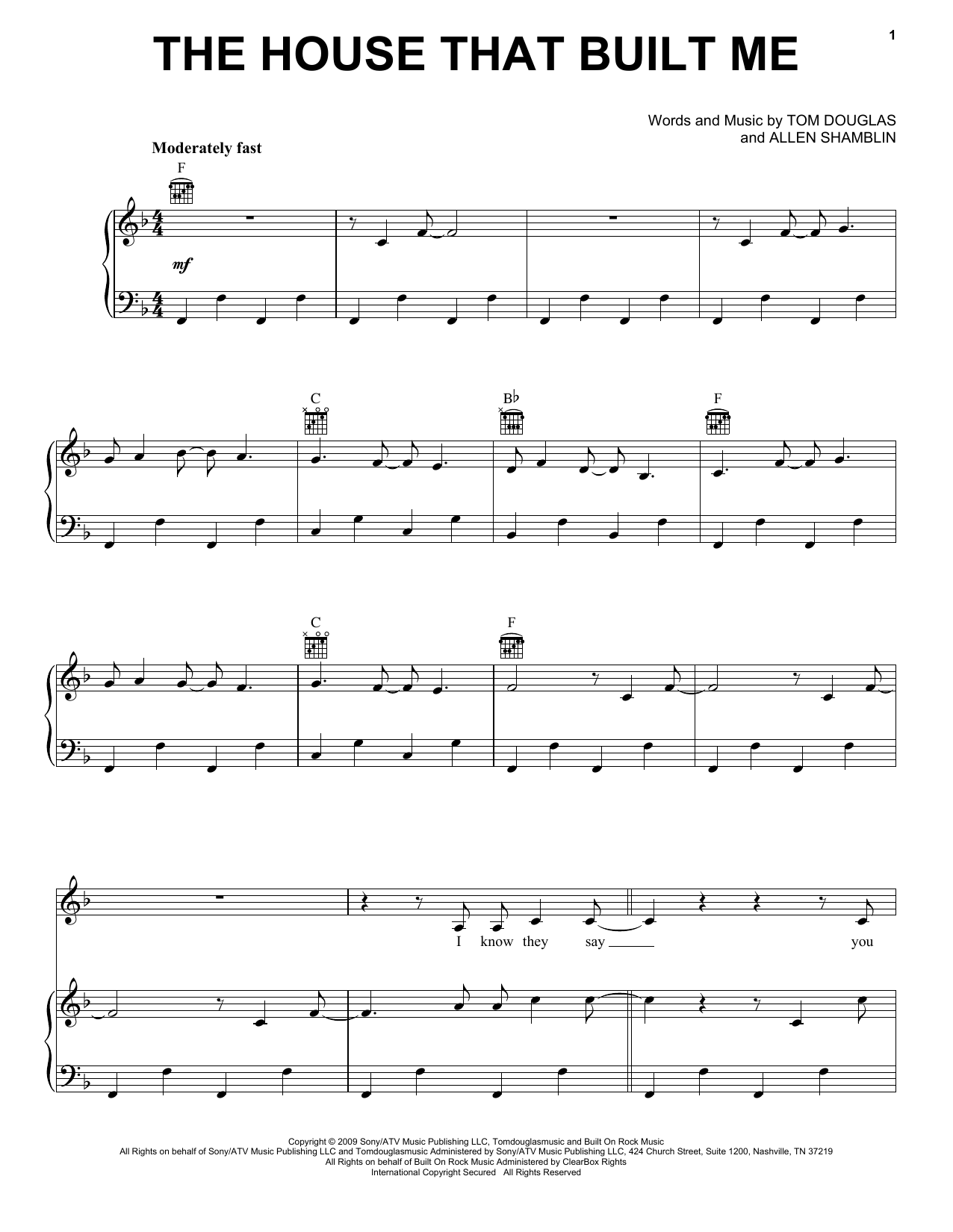 Miranda Lambert The House That Built Me sheet music preview music notes and score for E-Z Play Today including 5 page(s)