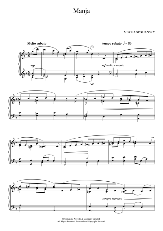 Download Mischa Spoliansky 'Manja' Digital Sheet Music Notes & Chords and start playing in minutes