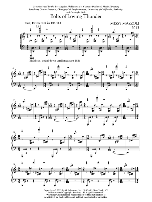 Download Missy Mazzoli 'Bolts Of Loving Thunder' Digital Sheet Music Notes & Chords and start playing in minutes