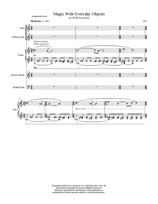 Download Missy Mazzoli 'Magic With Everyday Objects' Digital Sheet Music Notes & Chords and start playing in minutes