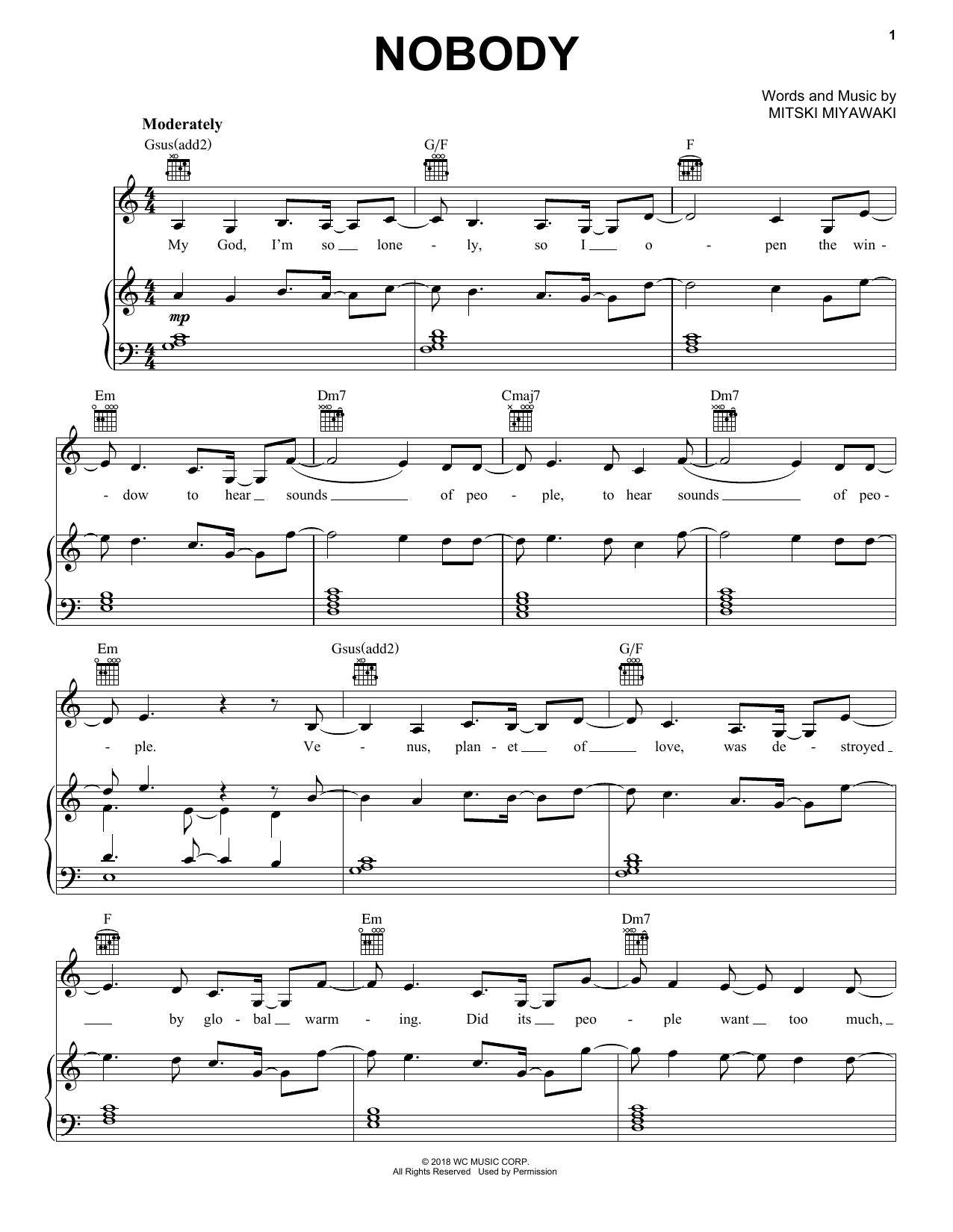 Mitski Nobody sheet music preview music notes and score for Piano, Vocal & Guitar (Right-Hand Melody) including 7 page(s)