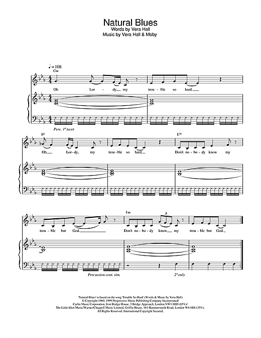 Moby Natural Blues sheet music notes and chords